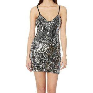 Boutique gold silver black sequin tank dress